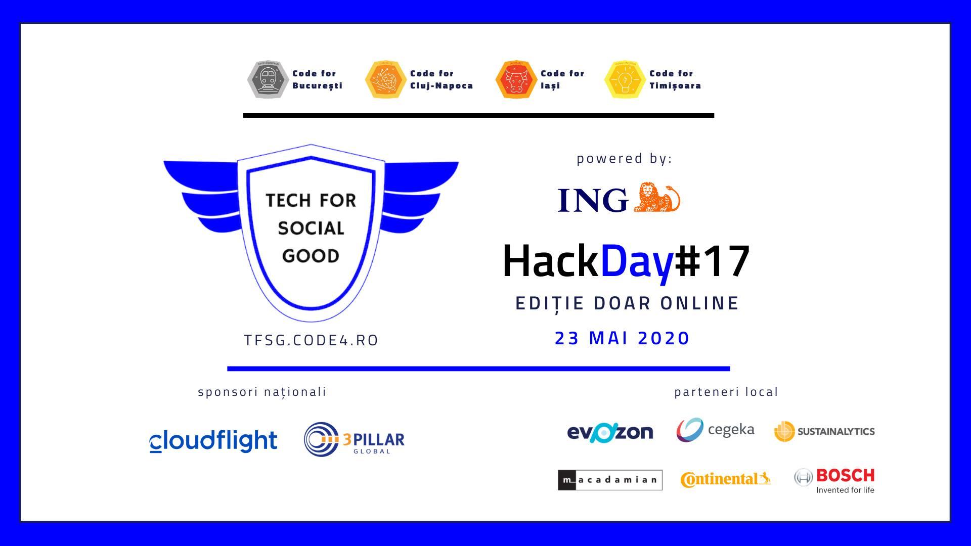 HackDay#17 | Ediție online cu proiecte Covid-19 și TFSG